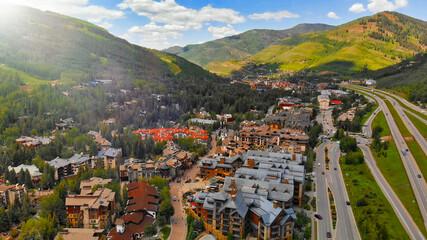 Fototapeta Aerial view of Vail in summer season, Colorado obraz