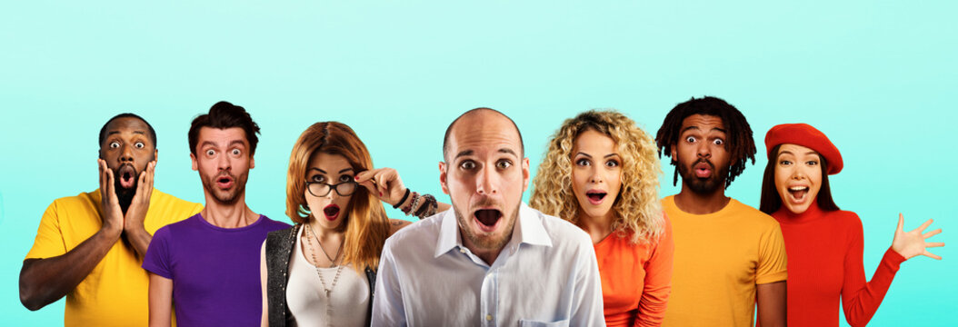 People with wondered, surprised and happy expression are shocked for new revelation . Cyan background
