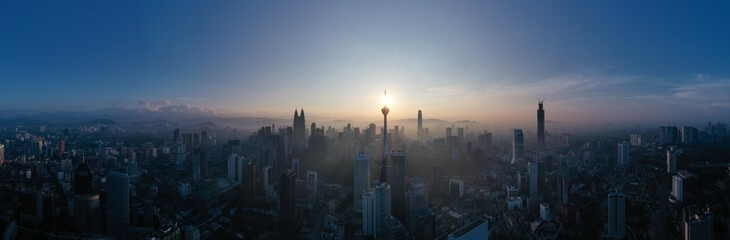 Panoramic View Of City Against Sky During Sunset