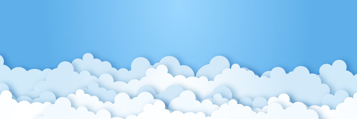 Fototapeta Clouds on blue sky banner. White cloud on blue sky in paper cut style. Clouds on transparent background. Vector paper clouds.White Cloud on blue sky paper cut design. Vector paper art illustration obraz