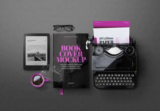 E-Book Reader Mockup & Old Typewriter
