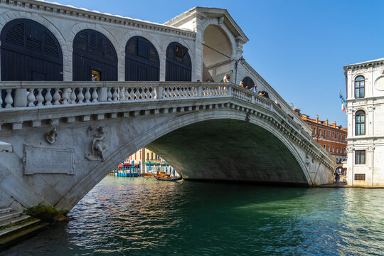 The Rialto Bridge on the Grand Canal, one of the most visited landmarks of Venice, Italy