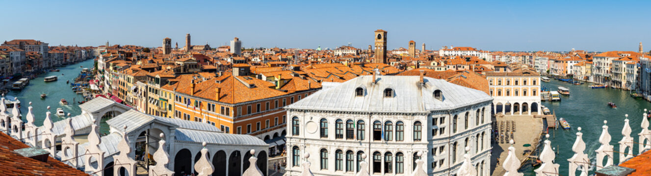 180-degree panorama of Canal Grande and Venice skyline from the Fondaco dei Tedeschi terrace, Italy