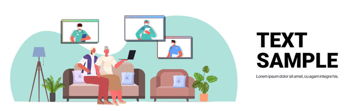 senior couple patients discussing with doctors in web browser windows online medical consultation coronavirus quarantine self isolation concept living room interior horizontal copy space vector