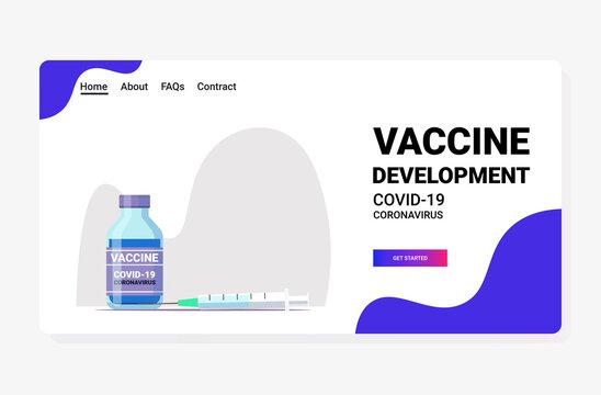 syringe and bottle vial of covid-19 vaccine injection vaccination immunization anti coronavirus disease healthcare medical concept horizontal vector illustration