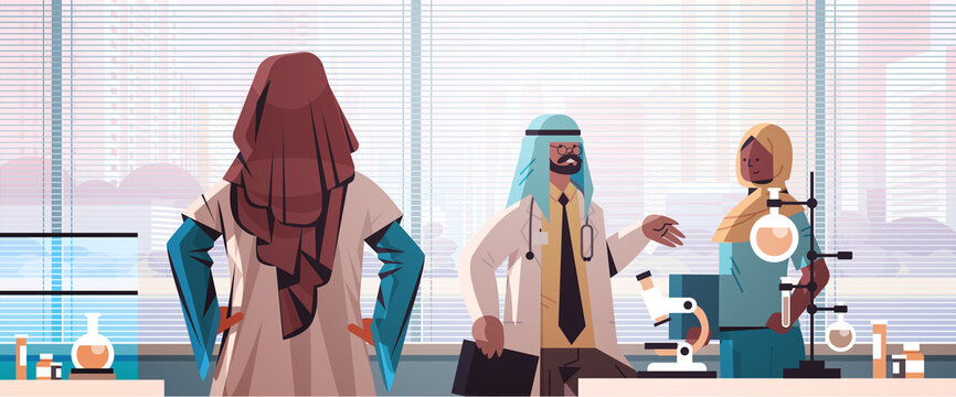team of arabic doctors in uniform discussing during meeting in hospital laboratory medicine healthcare concept horizontal portrait vector illustration