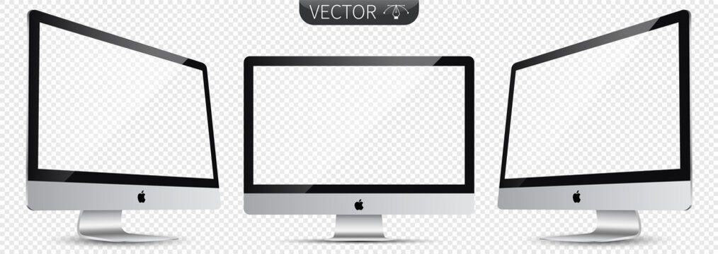 Recke, Germany - February 11, 2021: Realistic Apple Mac iMac computer vector illustration set collection. Monitor screen on transparent background. Editorial vector