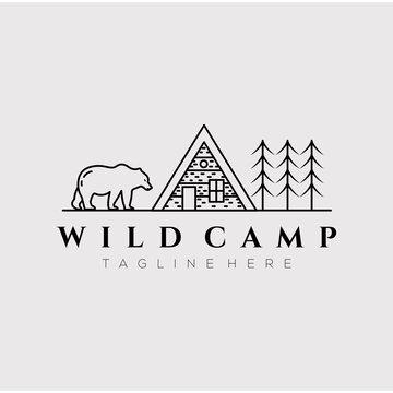 cabin cottage camp line art logo vector illustration design