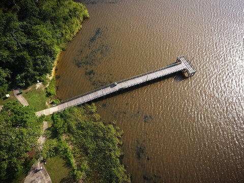 Aerial View Of Pier On Mobile Bay