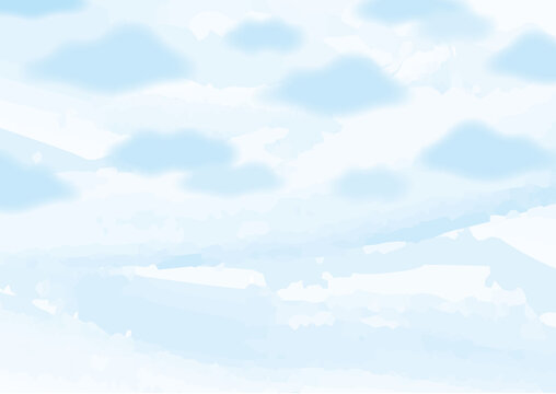 Background Frame Clouds and Sky Watercolor 01