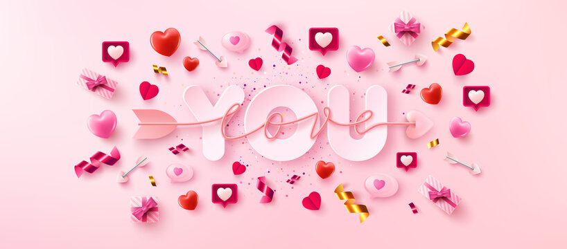 Love You Card or Banner with symbol of arrow love script over you word and valentine elements on pink background.Promotion and shopping template for love and Valentine's day in flat lay style.