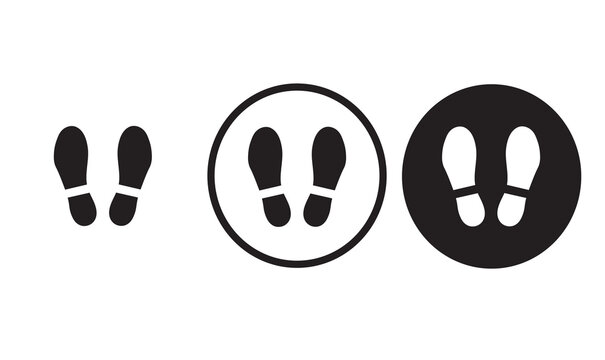 foot print icon black outline for web site design  and mobile dark mode apps  Vector illustration on a white background
