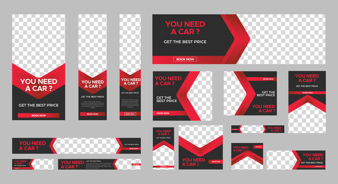 set of Rent Car web banners of standard size with a place for photos. Vertical, horizontal and square template. Vector EPS