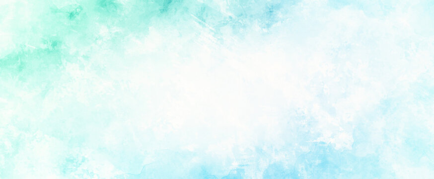 blue green and white background of watercolor clouds texture, abstract painted white smoke or haze in blotches and blobs on pastel blue green border