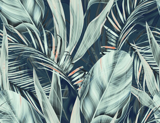 Colourful Seamless Pattern with tropic flowers and leaves. - fototapety na wymiar
