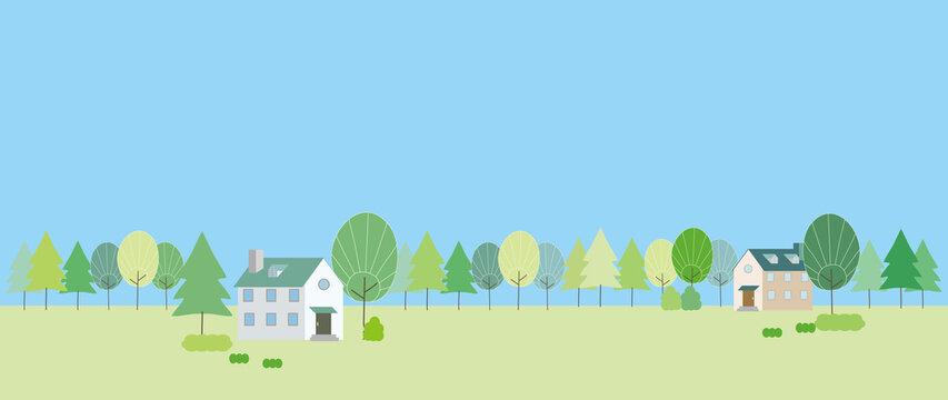新緑の木々と集落の風景イラスト