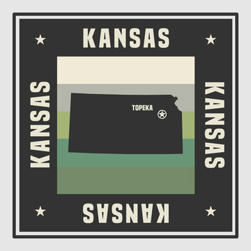 Abstract square stamp or sign with name of US state Kansas