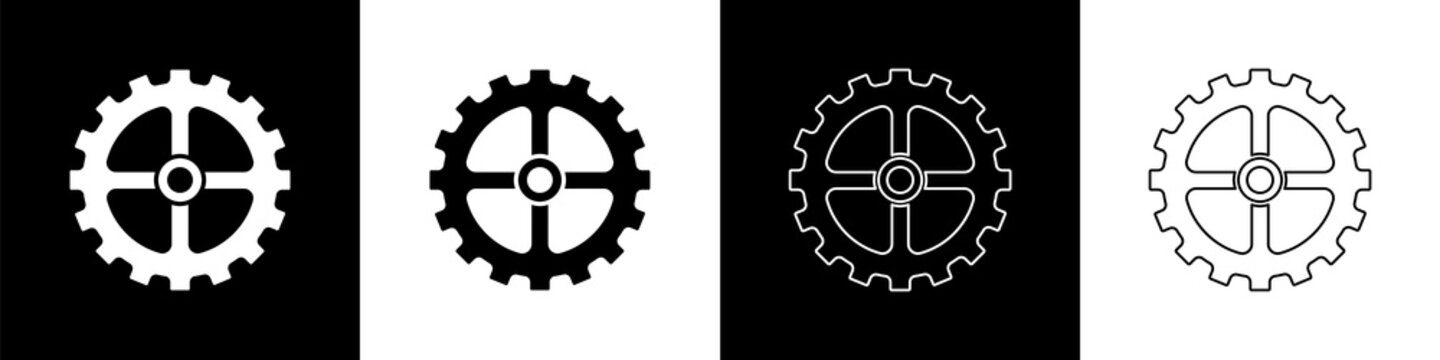 Set Bicycle sprocket crank icon isolated on black and white background. Vector.