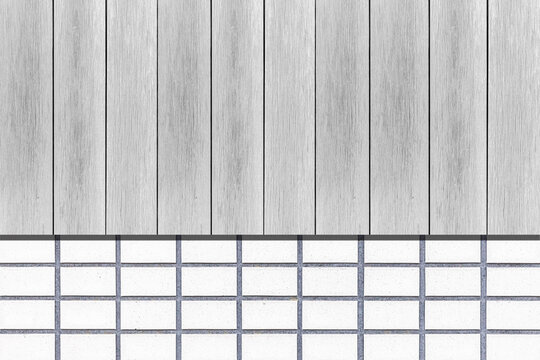 White wood slat fence and white cement block pattern and background seamless