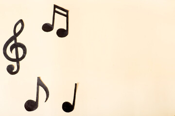 musical concept. music notes on a yellow background.