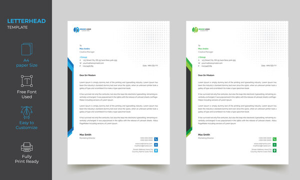 Modern Abstract Simple Unique Letterhead Design Template 2 Color Variation
