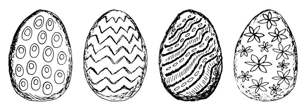 Collection of black and white grunge clipart of the Easter eggs with different patterns. Contour line sketches of eggs isolated on white background