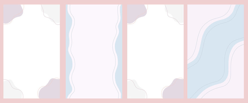 Set of abstract vertical background of lines, circles in pastel colors. Minimalistic background for social networks, stories. Vector illustration