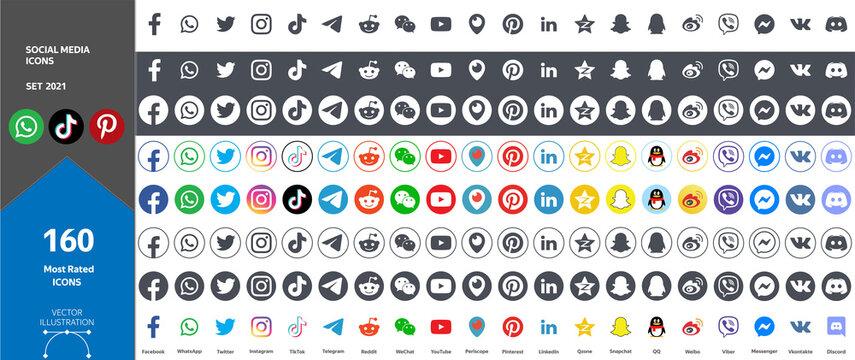 Big Set of Social Media Icons. Most Rated 160 Icons 2021. Facebook, Youtube, Whatsapp, Wechat, Instagram, TikTok, QQ, Weibo, Reddit, Snapchat, Twitter, Pinterest, Qzone, Periscope, Messenger, LinkedIn