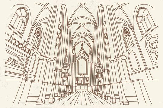 vector sketch of interior of Minoritenkirche, Vienna, Austria.