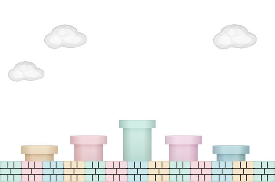 Minimal scene yellow, green ,blue and  pink  water pipe on brick floor and white cloud on white background.3D Render illustration.pastel color Tone. Cute color with Clipping Path.