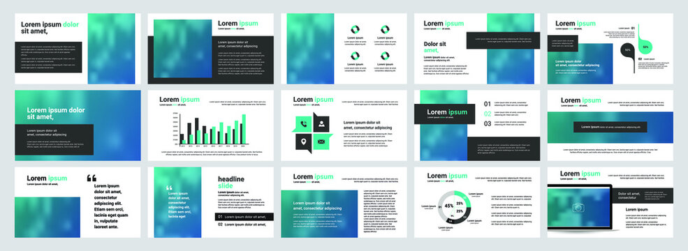 Business powerpoint presentation design templates set. Use for keynote presentation background, brochure design, website slider, corporate report, company profile, facebook banner.