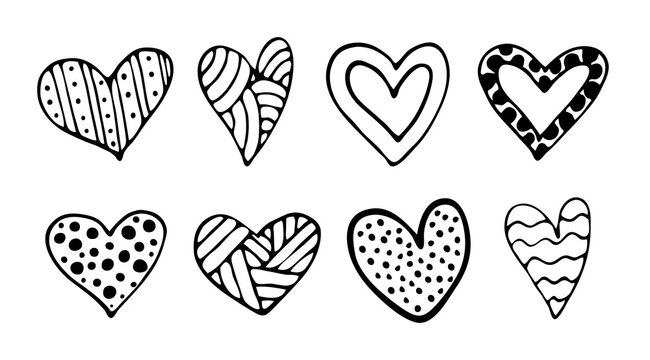 A set of vector doodle hand-drawn hearts. Valentine's Day theme