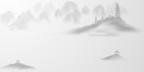 Chinese ink and water landscape painting banner card