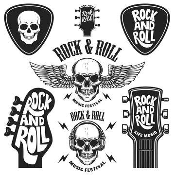 Set of rock and roll emblems. Design element for poster, card, banner, sign, logo. Vector illustration