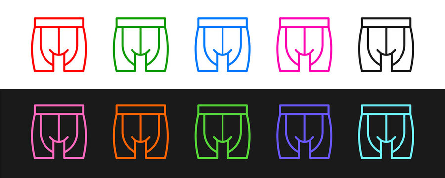 Set line Cycling shorts icon isolated on black and white background. Vector.