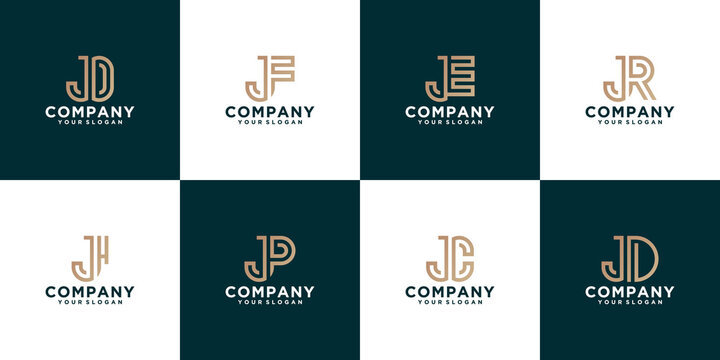 monogram combination j logo collection with line style for consulting, initials, financial companies