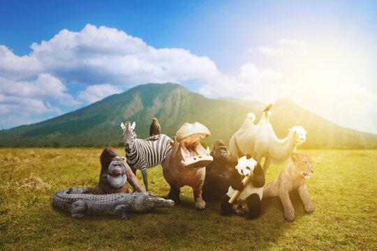 Picture of wildlife animals on the savanna