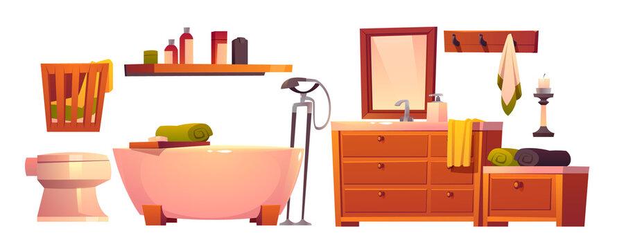 Rustic bathroom stuff in retro style isolated set