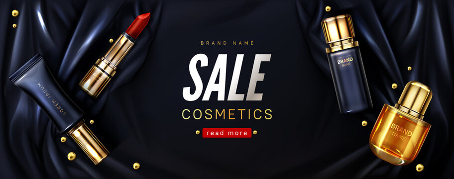 Sale banner with cosmetic products on black silk