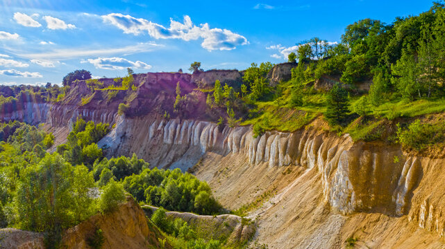 Beautiful summer landscape old chalk quarry. Nature landscape with old chalk quarry. Beautiful hilly.
