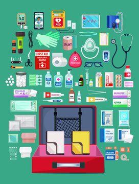 First aid kit box with medical equipment and medications for emergency vector illustrator. First aid stock set illustration.