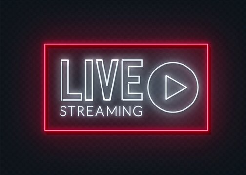 Live streaming neon sign on a transparent background .