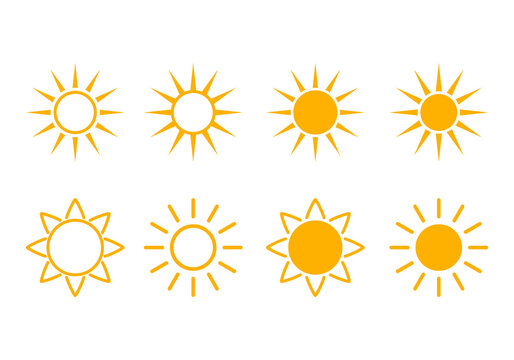 set of bright yellow abstract suns for weather forecast.