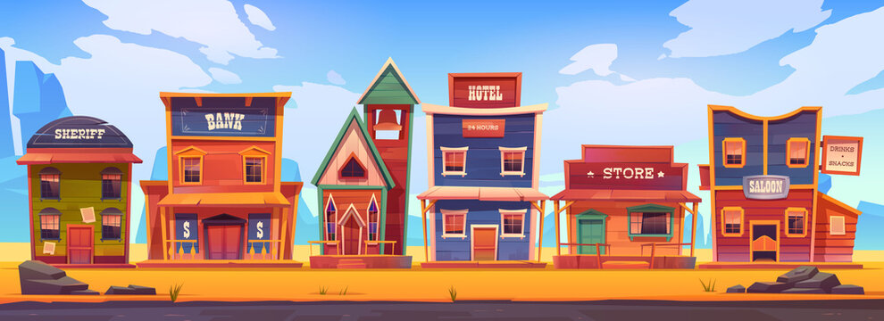 Vector western town with old wooden buildings