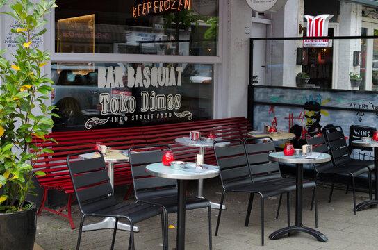 "Bar ""Basquiat"" in Javastraat street, Oost, Amsterdam, Netherlands. Outside street view."