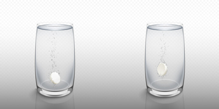 Effervescent soluble tablet in water glass