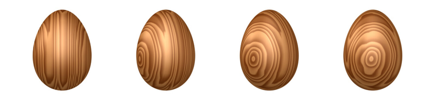 Wooden Easter eggs. Decorative Easter eggs made of wood with a natural texture. Object variants with rotation around its axis in 30 degree increments. Decoration element for holiday design