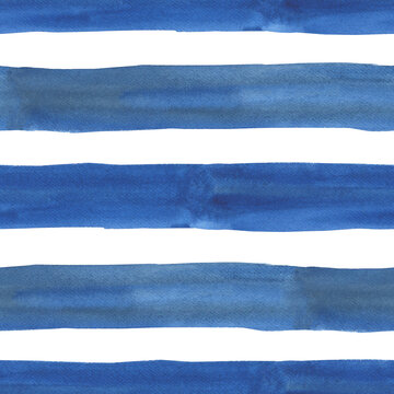 Hand drawn striped seamless pattern,  for wrapping, wallpaper, textile. Watercolor blue line print on white background