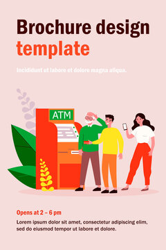 People helping senior man at ATM. Puzzled grandpa, credit card, mobile app using flat vector illustration. Old people support, banking concept for banner, website design or landing web page