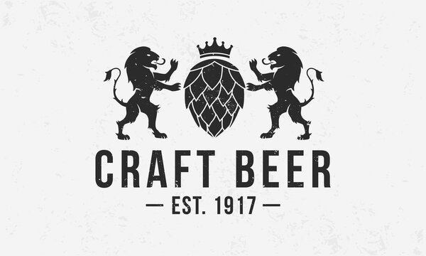 Heraldic beer monogram. Vintage Craft Beer logo with hop and lions silhouettes. Beer Crest with grunge texture. Poster design for bar, pub, restaurant. Vector illustration
